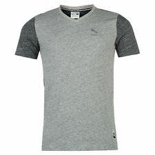 Puma Mens Gents Heather T-Shirt V-Neck Short Sleeve Top Clothing