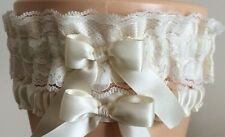 Ivory Satin and Lace Wedding Garter Set Bridal or Prom LotA1