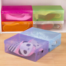 Clear Plastic Colorful Storage Boxes Shoe Container Organizer Holder Case QW