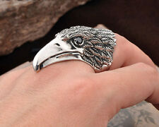 316L Stainless Steel Ring Mens Jewelry King Of The Eagle Black Zircon Gem CB32