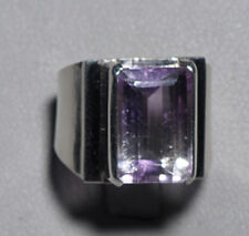 Amethyst Quartz Handcrafted Sterling Silver Faceted Gemstone Ring