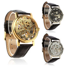 Luxury Mens Mechanical Skeleton Watch Hand Wind Up Leather Strap Wristwatch New