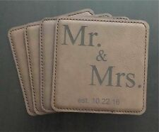 Mr & Mrs Personalized Custom Square Leatherette Drink Coasters with Date
