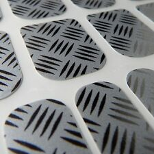 Chrome CHIX NAILS Silver Embossed Checker Plate Vinyl Nail Wraps Fingers Toes