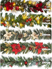 Christmas Garland 180cm Decoration Pre Lit LED Bauble Poinsettia Artificial