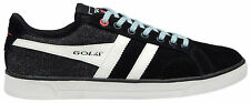 New Mens GOLA Real Leather Denim Black White Trainers Sneakers Pumps Size 8 - 12