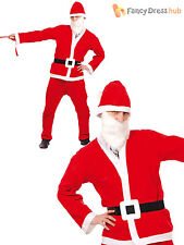 Mens Santa Claus Costume Adults Father Christmas Fancy Dress Suit Xmas Outfit