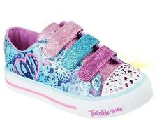 Girl's Youth SKECHERS TWINKLE TOES 10630 LIGHTS Blue/Multi Casual Shoes New