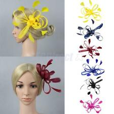 Charm Women Fascinator Hair Clip Brooch Feather Cocktail Wedding Party Headpiece