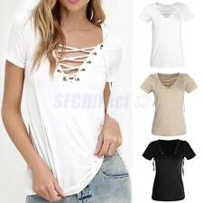 Sexy Women V-Neck Hot Summer Casual Loose Fashion Hollow Out Tops Blouse T Shirt