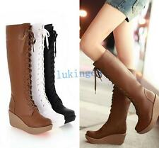 New Punk Womens LACE-UPS Wedge Heel Shoes Riding Knee High Tall Calf Boots Shoes