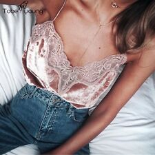 Sexy Women Strap Lace Velvet Vest Slim Sleeveless Top Tank Blouse Camisole Party