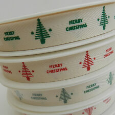 per 3 metres green or red textured christmas tree/merry christmas ribbon 15mm