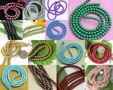 """6mm Round Glass Pearl Loose Beads Strand 30"""" for Necklace Bracelet Earrings DIY"""