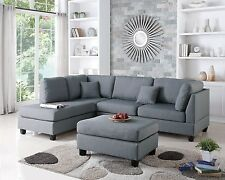 Modern Contemporary Sectional Sofa and Ottoman Set (Sand / Gray / Chocolate)