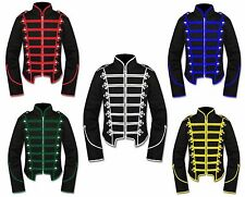 """Gothic Man""""s Black Military Marching Band Drummer Jacket with Braid color option"""