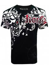 KONFLIC GRAPHIC T-SHIRT Tribal Skull { Black } with Red Foil Trim MMA