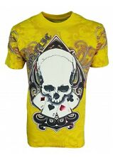 KONFLIC GRAPHIC T-SHIRT Ace of Spades Skull T-Shirt { Yellow } RED Foil Trim MMA