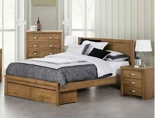 SOLID QUEEN OR KING BED WITH 2X END DRAWERS (American Ash Hardwood +MDF) - Mocha