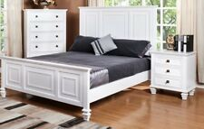 CRYSTAL HARDWOOD WHITE QUEEN BED  OR KING SIZE PANELED BED FRAME