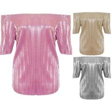 Ladies Short Sleeve Bardot Off Shoulder Pleated Foil Metallic Stretch Party Top