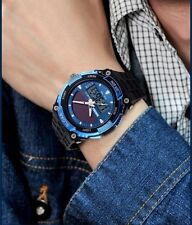 Mens LED Waterproof Sport Date Analog Digital Quartz Solar Powered Wrist Watch