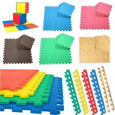 EVA INTERLOCKING SOFT MATS FLOOR GYM OFFICE GARAGE FOAM KIDS PLAY TILES W/EDGES