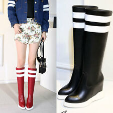 Fashion Womens KNEE HIGH MID CALF Snow boots Leather Wedge High Platform size