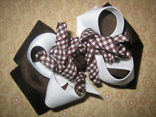 Brown Gingham Korker Hair Bow Baby Boutique Layered
