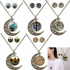 Vintage Women Owl Gem Time Glass Necklace Earrings Cabochon Jewelry Set Charm