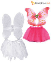 Girls Angel Costume Childs Christmas Fairy Fancy Dress Kids Wing + Tutu Outfit