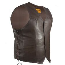 MENS MOTORCYCLE BROWN COWHIDE LEATHER VEST w/ MULTI POCKETS & SIDE LACES - DA96