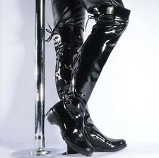 Men's Over The Knee Boot Patent Leather Punk Riding stage Dance show Shoes#black