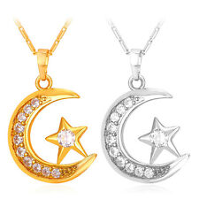 Shiny Crescent Moon Star Pendant 18K Gold Plated Necklace Islamic Muslim Jewelry