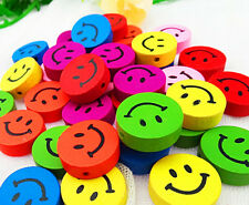 18mm Wood Beads Smiling Face One Hole Environmentally DIY Sewing Accessories