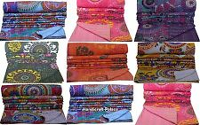 Indian Reversible Kantha Quilt Handmade Bedspread Twin size Throw Blanket Throw