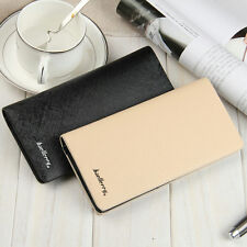 Slim Billfold Men Bifold Leather Clutch Wallet Card Holder Long Purse Checkbook