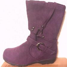 New Kids Fashion Boots Faux Suede Zip Up Side Girls Purple