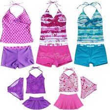 Girls Kid 2 Piece Halter Tankini Swimwear Bathers Swimmers Padded Swimsuit  8-16