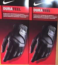 2 NEW 2016 NIKE DURAFEEL GOLF GLOVES BLACK LEFT HAND TWO GLOVE!