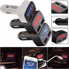 4 In 1 Dual USB Car Charger Adapter Voltage DC 5V 3.1A Tester For iPhone Tablet