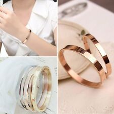Stainless Steel Lovers Cuff Gold Bangle Jewelry Crystal Charm Glaze Bracelet New