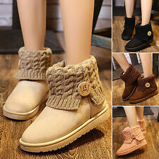 Women's Suede Knit Thicken Ankle Snow Boots Winter Wool Short Booties Warm Shoes