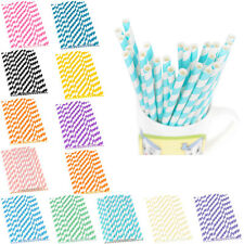 25pcs Colorful  Paper Striped Drinking Straws For Birthday Party Wedding Party