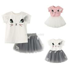 Kids Girls Princess T-Shirt Tops&Tutu Skirt Outfits Party Tulle Dress 2-6T 2Pcs