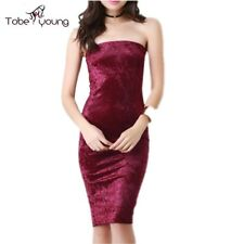 Sexy Women Velvet Strapless Bodycon Knee Length Pencil Dress Party Cocktail Plus