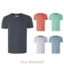 MENS BASIC V NECK TOP NECKLINE CONTRAST DETAIL SHORT SLEEVE CASUAL T SHIRT S-XXL