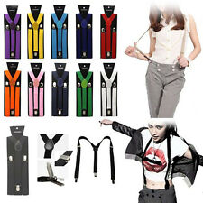 Unisex Mens Womens Clip-on Suspenders Y-Shape Elastic Adjustable Braces Solids
