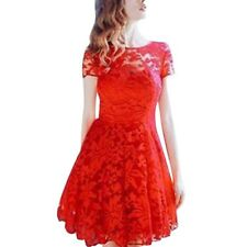 New Summer Women Floral Lace Dress Short Sleeve O-Neck Casual Mini Dresses S M L