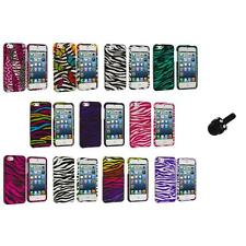 Zebra Design Hard Snap-On Rubberized Case Cover+Mini Stylus for iPhone 5 5S